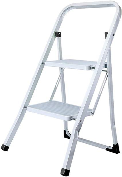 Escalera de dos peldaños multifunción, color negro/verde/blanco, escaleras plegables de hierro, taburete de escalera, taburete plegable para el hogar, jardín, estable, blanco: Amazon.es: Oficina y papelería