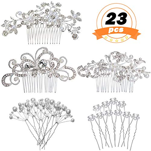 REVEW 23 PCS Wedding Hair Comb Bridal Hair Accessories, Women Hair Side Comb Crystal Pearl Hair Pins Clips for Brides and Bridesmaids (Hair Comb Accessories)