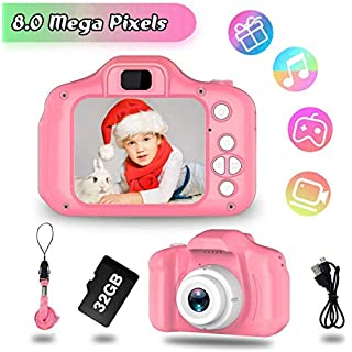 JOHURC Kids Camera for Girls, Gifts for 3 4 5 6 7 8 Year Old Girls, Toys for 5 6 7 8 Year Old Toddlers,Kids, 12MP HD Video Camera, Pink(32GB SD Card Included)…