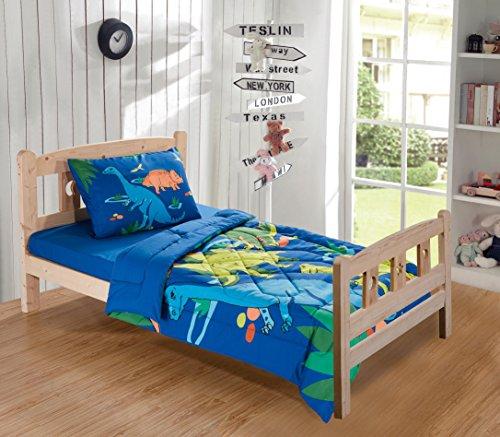 MK Collection Toddler Bed Comforter Set Dinosaurs Blue Green
