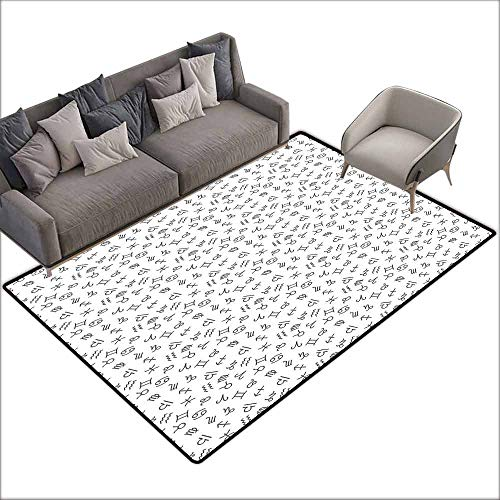 Bedroom Living Room Area Rug Astrology,Signs of The Zodiac Pattern in Monochrome Design Twelve Horoscopes Cosmos Future,Black White 60