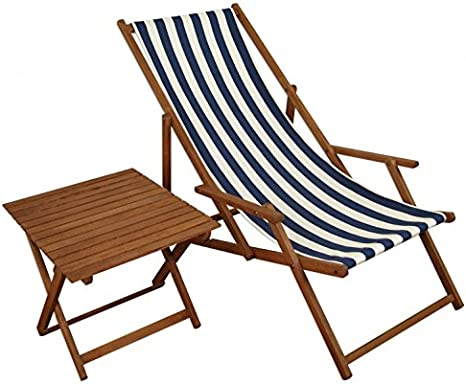 Sedia Sdraio A Righe Bianco Blu In Faggio Con Braccioli Tavolino Per Spiaggia Piscina 10 317t Amazon It Giardino E Giardinaggio