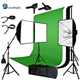 LimoStudio Photo Video Studio Four Light Head Continuous Lighting Softbox Boom Stand Kit with White Black Green Muslin Backdrop