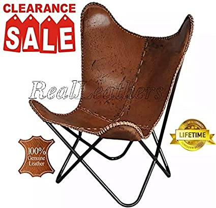 Charmant Iron Powder Coated Folded Frame Genuine Leather Butterfly Chair (Antique  Brown)