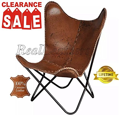 Iron Powder Coated Folded Frame Genuine Leather Butterfly Chair (Antique Brown)