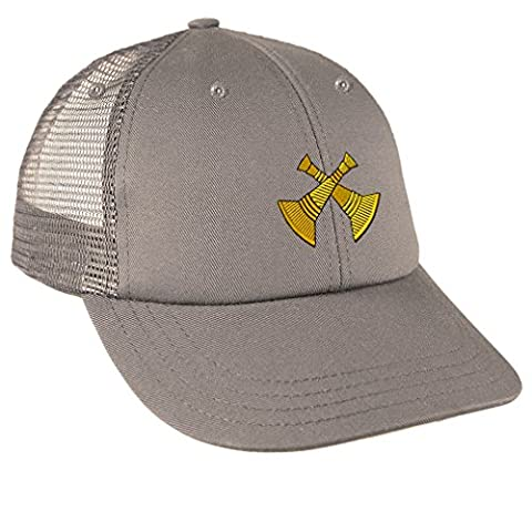 District Chief Embroidery Design Low Crown Mesh Golf Snapback Hat Grey (Chief Head Snapback)