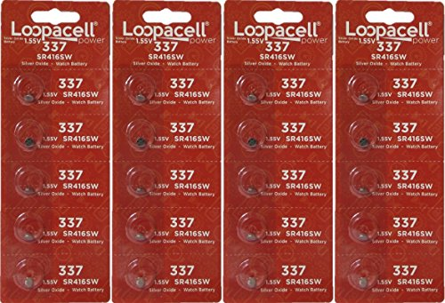 Loopacell 337 (SR416SW) 1.55V Silver Oxide Watch Battery (20 Batteries)