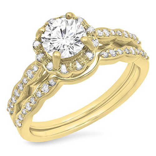 Dazzlingrock Collection 14K White Moissanite & Real Diamond Bridal Engagement Ring Set, Yellow Gold, Size 7 ()