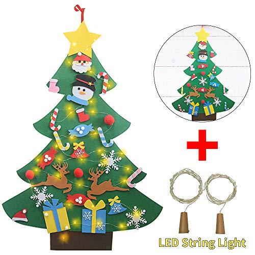 Wine Bottle Christmas Tree Diy.Ofun Diy Felt Christmas Tree Set With 26pcs Ornaments 2pcs Wine Bottle Fairy Lights Xmas Gifts New Year Door Wall Hanging Home Decorations 3ft
