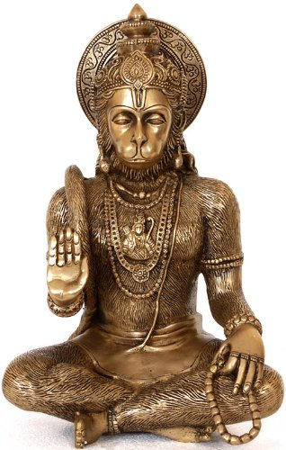Blessing Hanuman (Lord Rama Depicted in His Heart) - Brass Statue