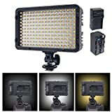 Venidice 198 Bi-color Studio Light Panel(3200K-7500K, 980LM) LED Video Light with NP-750 Battery + Charger for Canon Nikon Sony and Other DSLR Cameras