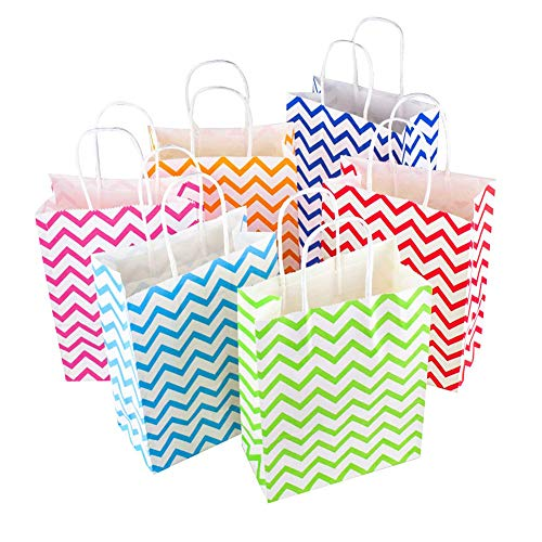 Bocotoer Paper Bag Wavy Stripes Kraft Bag Handle For Shopping Christmas Party Celebrations Random Color 30 Pieces