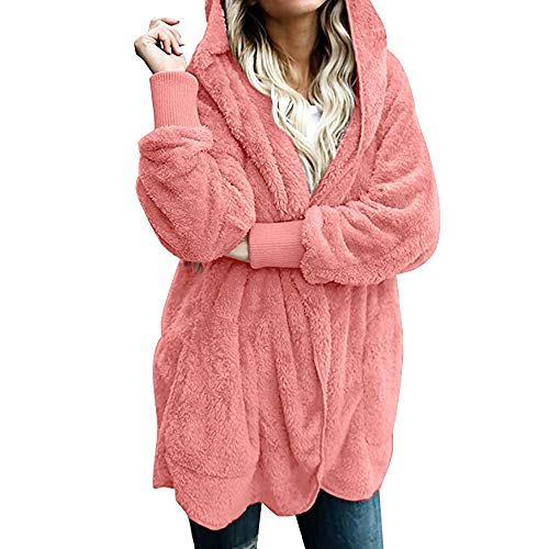 NEARTIME Womens Jacket, Autumn/Winter Fashion Solid Color Warm Coat Loose Parka Hooded Outwear Pink