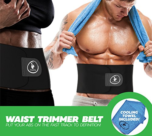 Waist Trainer Trimmer for Weight Loss for Women and Men, Best Abdominal Sweat Belt, Low Back and Lumbar Support Adjustable Shaper with Sauna Effect, Good for Postpartum Belly Firmness