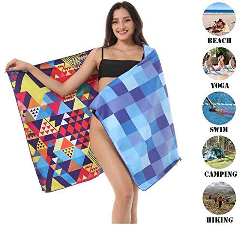 Microfiber Mandala Sand Free Beach Towel-Quick Dry Super Absorbent Lightweight Oversized Large Towels Blanket for Travel Pool Swimming Bath Girl Women Men Geometric Triangle Mosaic Check Blue