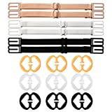 6 Pieces Non-slip Bra Straps Elastic Adjustable Bra Strap Holder with 9 Pieces Bra Clips