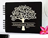 Weddings-by-StockingFactory Funeral Guest Book Personalized Wooden Memorial Guestbook 8.5x7 Made in USA Black Mahogany Oak Wood Hardcover Finish Celebration of Life