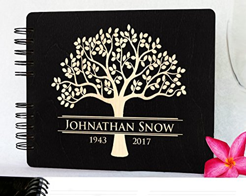 Book Engraved Guest (Weddings-by-StockingFactory Funeral Guest Book Personalized Wooden Memorial Guestbook 8.5x7 Made in USA Black Mahogany Oak Wood Hardcover Finish Celebration of Life)