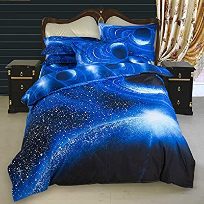No-branded Sygjal Galaxy Bedding Blue Kids Boys Girls Full Size Outer Space Duvet Cover Set 7 Pieces (Fitted Sheet Included) (Size : 1502104): Home & Kitchen
