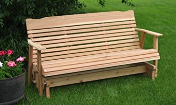 5u0027 Natural Cedar Porch Glider, Amish Crafted