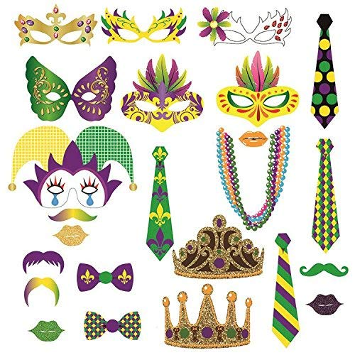 Mardi Gras Photo Booth Party Favor Kit,Photo Booth Props DIY Kit for Wedding, Birthday, Party - DIY photo booth Fun Accessories, 24 Pack