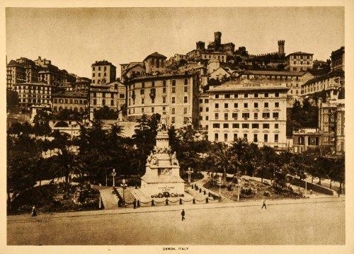 Genoa Genova Italy Liguria Seaport City Architecture Italian - Original Intaglio Print (Reverse Intaglio)