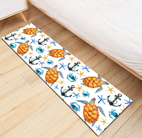 HVEST Nautical Area Rugs Sea Turtle Crab Starfish and Anchor Carpet Non-Slip Runner Area Rugs for Living Room Bedroom Kitchen Floor Mat,(1'4