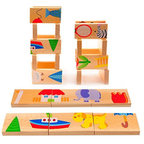 Meets Dragon Dominoes: Best Wooden Picture Dominoes for Kids - Comes in Bright Colors and Fun Patterns - Perfect for the Whole Family