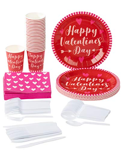 Disposable Dinnerware Set - Serves 24 - Valentines Party Supplies, Happy Valentine's Day Hearts Design, Includes Plastic Knives, Spoons, Forks, Paper Plates, Napkins, Cups, Red and Hot Pink