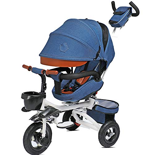 Axdwfd Kids Tricycle Foldable with Push Handle Kids Pedal Bicycle with Sunshade Roof 1-6 Years OldLoad Weight 50kg Baby Carriage Boys Girls Toy Car (Color : Blue)