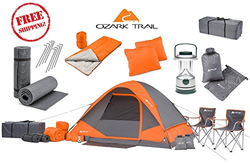 good! Camping Equipment Family Cabin Tent Sleeping Bag Chairs Hiking Gear included ()