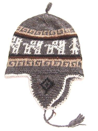 Alpakaandmore, Peruvian Handmade Rustical Alpaca Wool Knit Cap Chullo Earflaps (One Size)