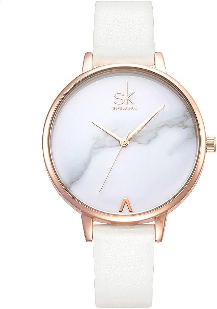 SHENGKE Relojes de Mujer Banda de Cuero Relojes de Cuarzo Vestido para Mujer Reloj de Pulsera