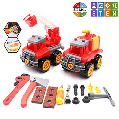 CISAY Stem Learning Toys,Fire Engine Creative Construction Engineering,Educational Toys Set for Boys&Girls Ages 3 4 5 6 7 8 9 10 Year Old,Best Building Blocks Gift for Kids