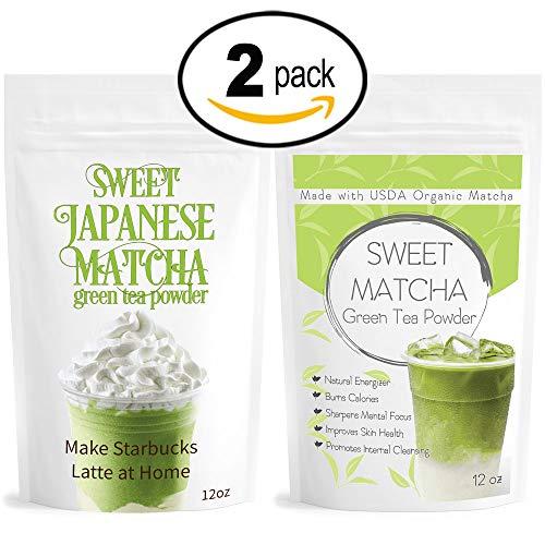 Japanese Sweet Matcha (2x 12oz) Green Tea Powder Mix- Made with 100% Organic Matcha- Perfect for Making Green Tea Latte or Frappe; Vegan, Vegetarian