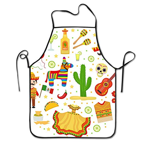 Hidden Ambition Mexican Music Cinco De Mayo Personalized Aprons for Women Mens Kitchen Aprons for Chef Waiter Cooking Baking Crafting Gardening BBQ