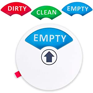 "Dishwasher Magnet (1pc) - Clean, Dirty or Empty Sign - Non-Scratch 3.5"" Magnetic Sign - Includes Double Sided 3M Tape for Non-Magnetic Surfaces (Round Dishwasher Magnet (White))"