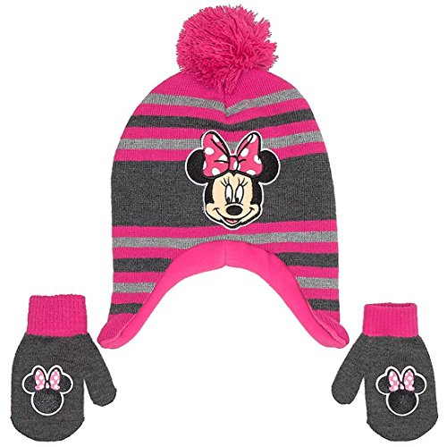 Toddler Little Girls Pink Hat and Mitten Set ()