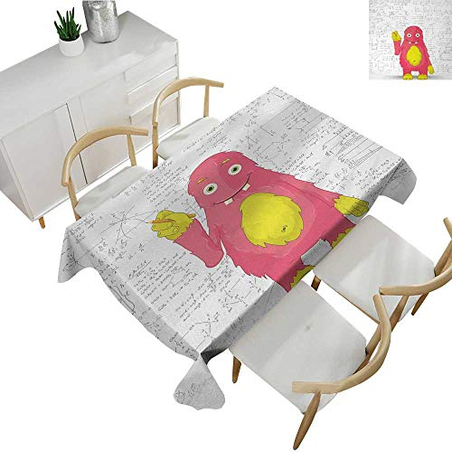 Kids,Tablecloth Rectangular Funny Smart Monster Doing Math on Wall Science Nerds Comic Illustration Pattern Table Cloth Home Decoration Pink Yellow White 60