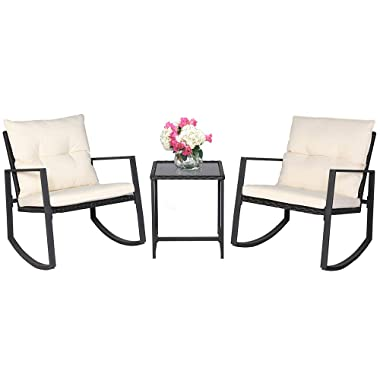 SUNCROWN Outdoor 3-Piece Rocking Bistro Set: Black Wicker Furniture-Two Chairs Glass Coffee Table (Beige-White Cushion)