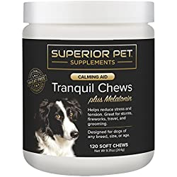 Calming Treats For Dogs | Anxiety Composure Relief with Melatonin |Dog Stress & Separation Aid in Fireworks, Thunder, Grooming + Chewing & Barking - 120 Chews