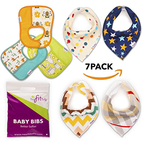 Baby Bandana Drool Bibs - 7 Pack Absorbent Organic Cotton Gift Set for Boys & Girls (Ohio Machine)