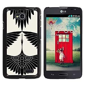 For LG Optimus L70 / LS620 / D325 / MS323 Case , Stork Art Drawing Ink White - Diseño Patrón Teléfono Caso Cubierta Case Bumper Duro Protección Case Cover Funda