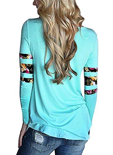 Donna Collo Casual Camicie Maglie ulein Rotondo Moda Maglietta Camicetta Lungo Lunga Cucitura a Manica Shirts Estivo Floreali Fox Tops Fr Sottile xq0tw4px