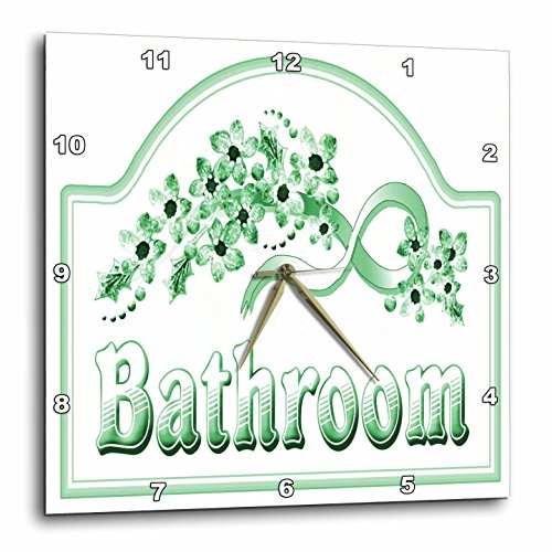 3dRose DPP_60564_1 Victorian Green Bathroom Sign Wall Clock, 10 by 10-Inch