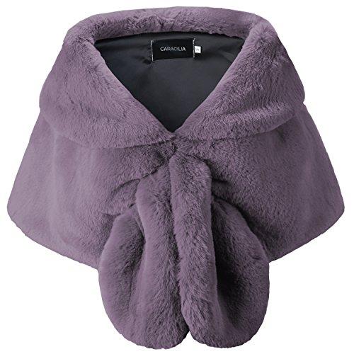 Caracilia Women Faux Fur Shawl Wrap Stole Shrug Winter Wedding Wrap xiangyuzi12 L CA95