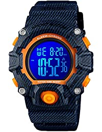 Kid Watch for Boys Girls LED Sports Watch Waterproof Digital Electronic Casual Military Wrist with Camouflage Silicone Band Luminous Alarm Stopwatch Denim Blue