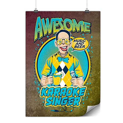 wellcoda Karaoke Singer Poster Funny A3 (12″ x 17″) Matte Heavy Weight Paper, Ideal for Framing, Easy to Hang Art