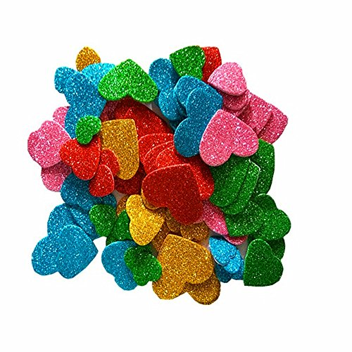 Minibaby EVA Glitter Foam Stickers,Assorted Love Heart,Self Adhesive Foam Shapes Craft Cute Sticker Random Color 100pcs