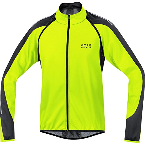 Gore Bike WEAR, Men´s, 2 in 1 Road Cyclist Jacket, Gore Windstopper Soft Shell, Phantom 2.0, Size L, Neon Yellow/Black, JWPHAM
